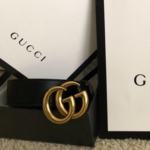 New Gucci GG Double G Logod Belt With Tags